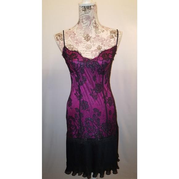 Betsey Johnson Dresses & Skirts - Betsey Johnson fuschia and black lace slip dress